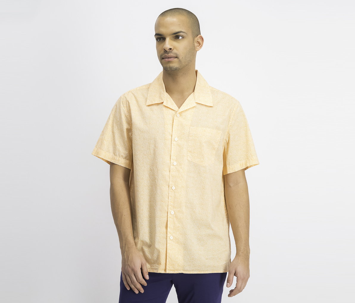 Men's Mini Stars Printed Shirt, Marigold