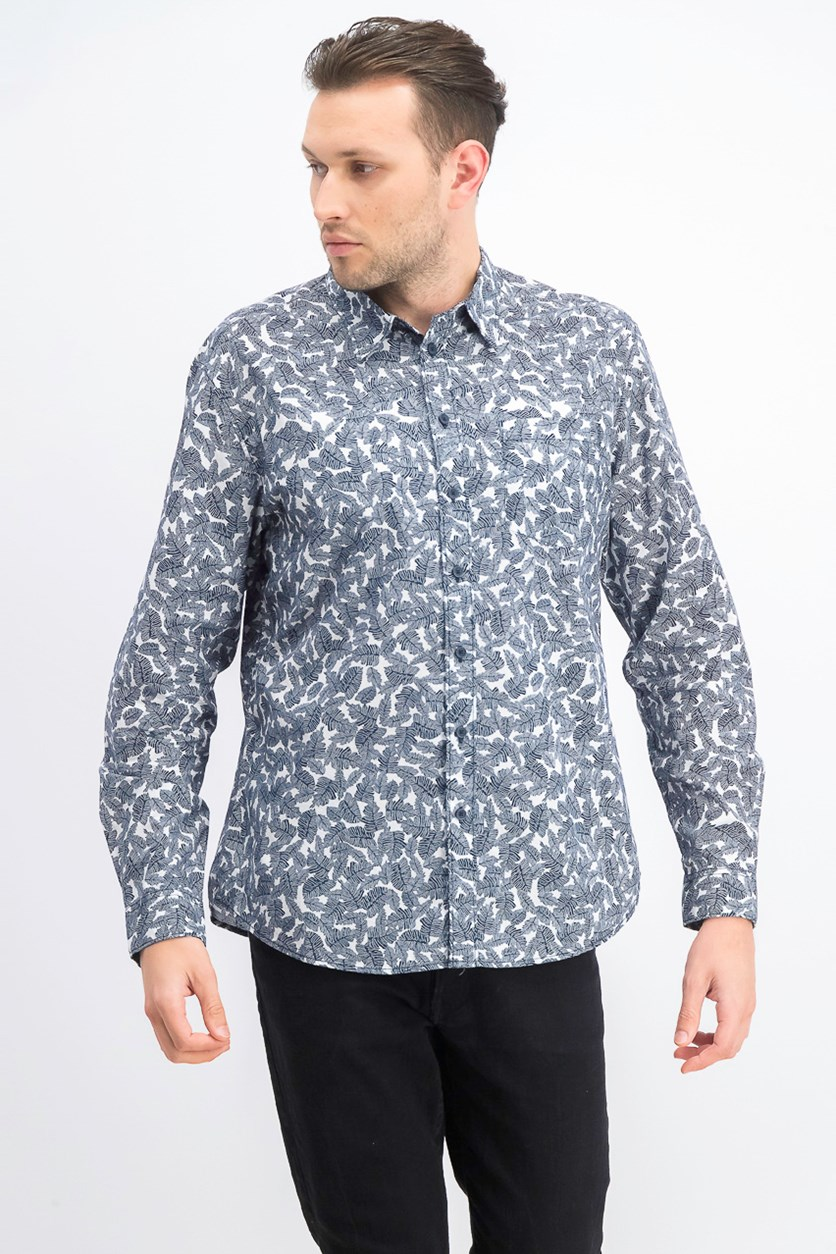 Men's Leaf-Print Shirt, Navy Blazer