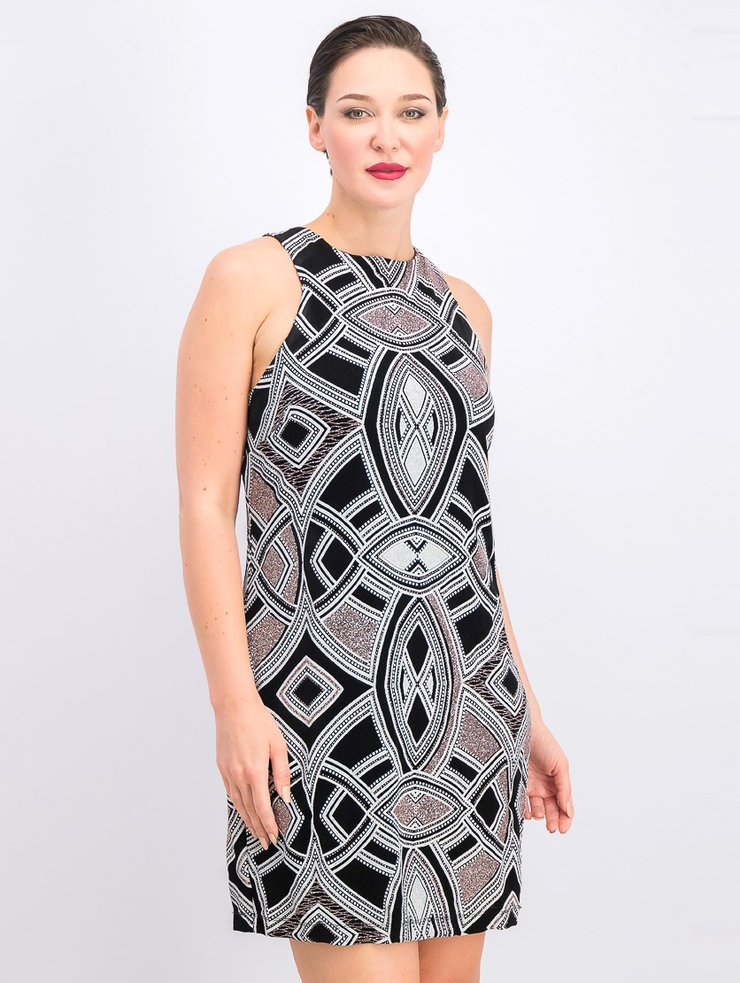 Women's Glitter-Print Bodycon Dress, Black/White