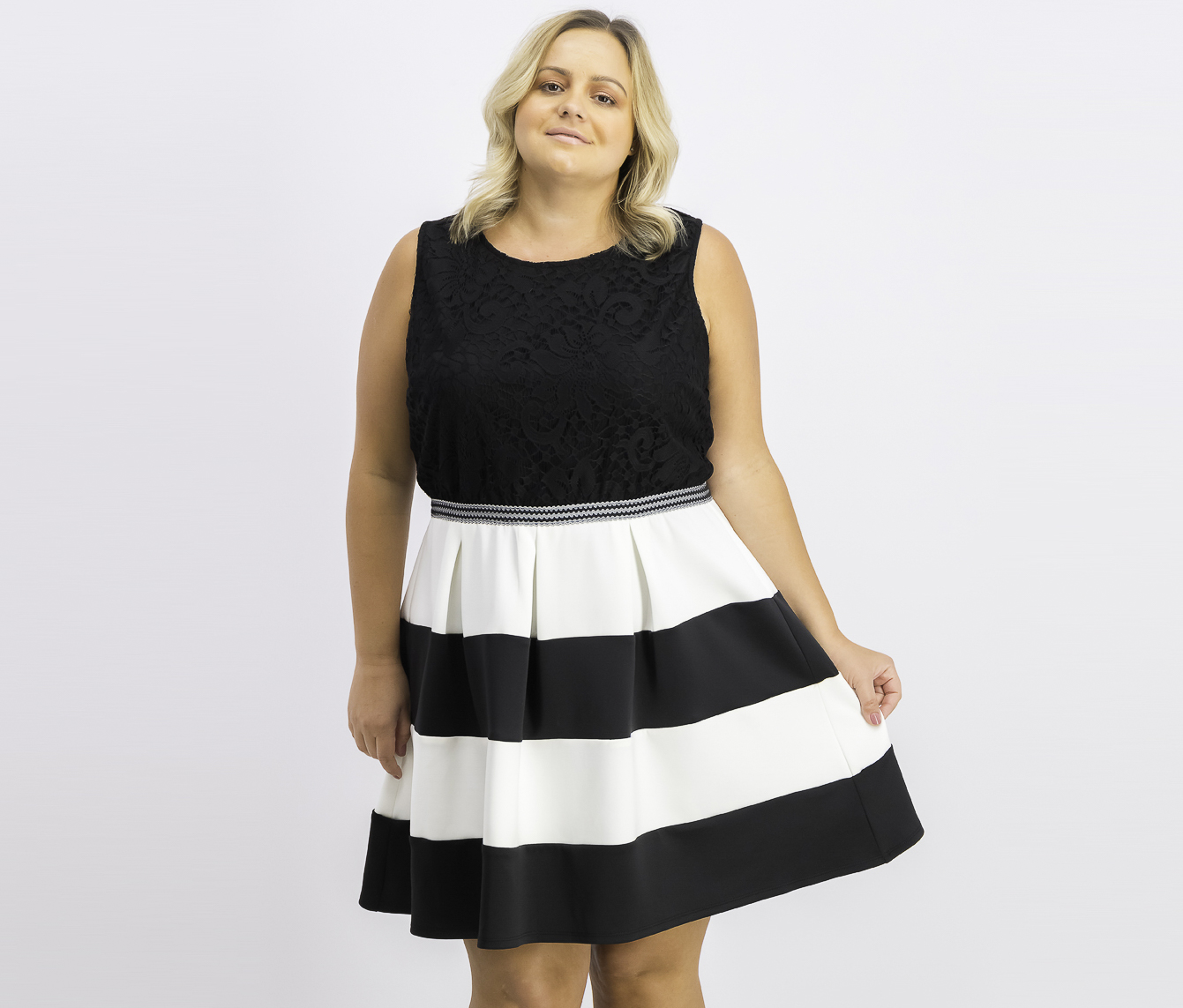 Trendy Plus Size Striped Fit & Flare Dress, Black/White