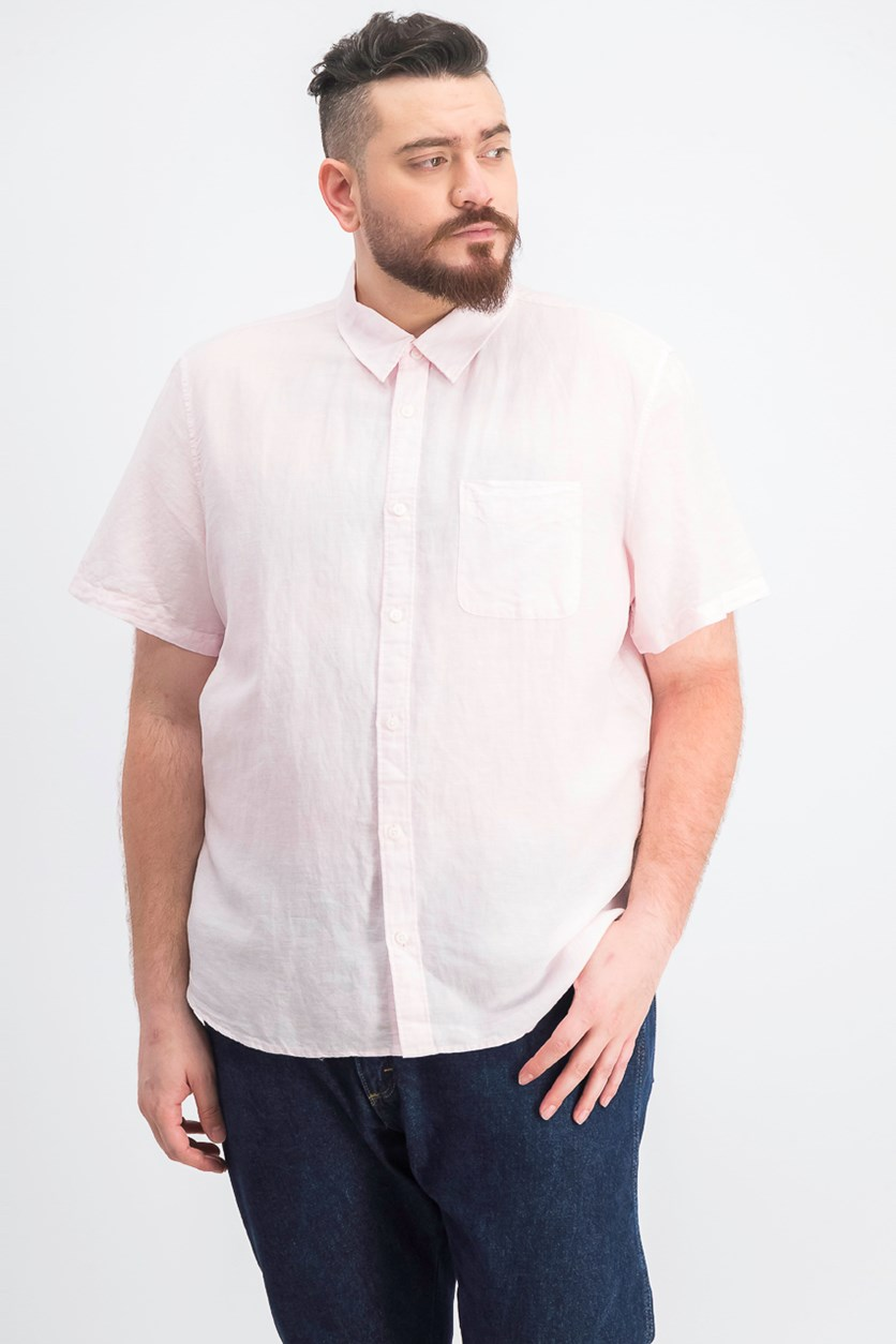 Men's Chambray Pocket Short Sleeve Shirt, Pink Marshmallow