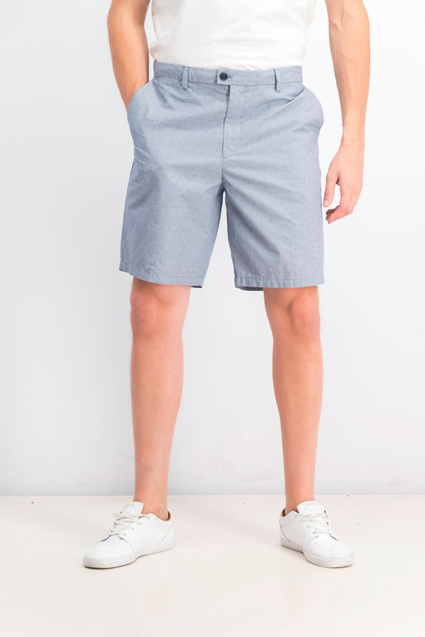 Men's Flat Front Dobby Shorts, Faded Cadet