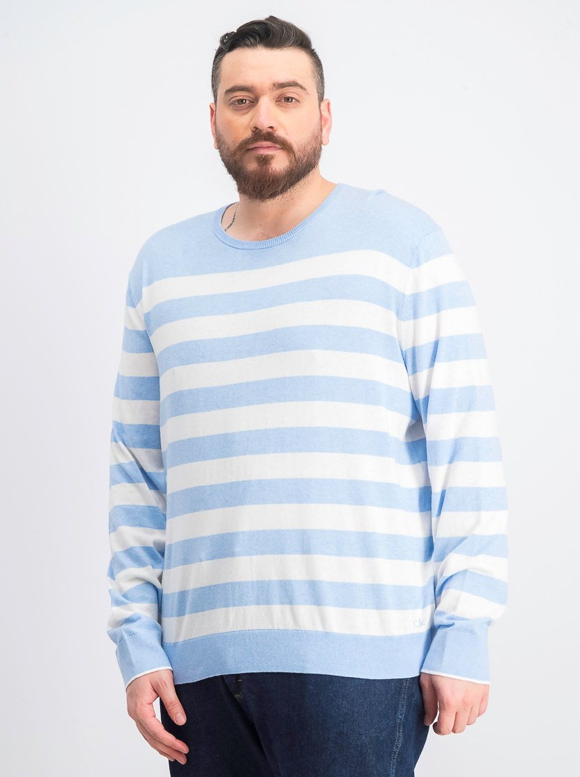 Men's Striped Logo Sweater, Blue/White