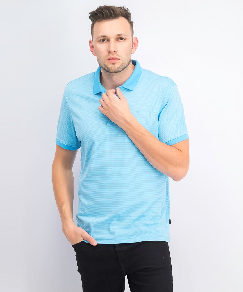 Men's Liquid Touch Micro Stripe Polo Shirt, Bright Ice