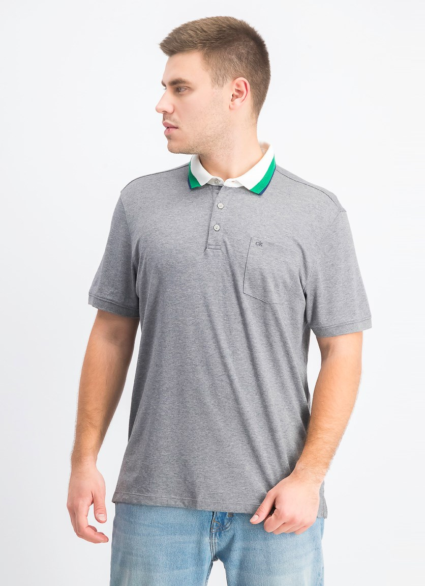 Men's Short Sleeve Jacquard Polo, Grey
