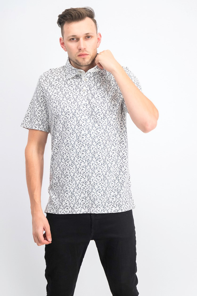 Men's Regular-Fit Floral-Print Polo, Black/White