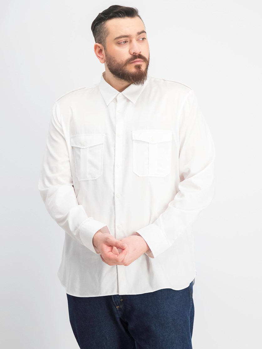 Men's Classic-Fit Utility Shirt, White
