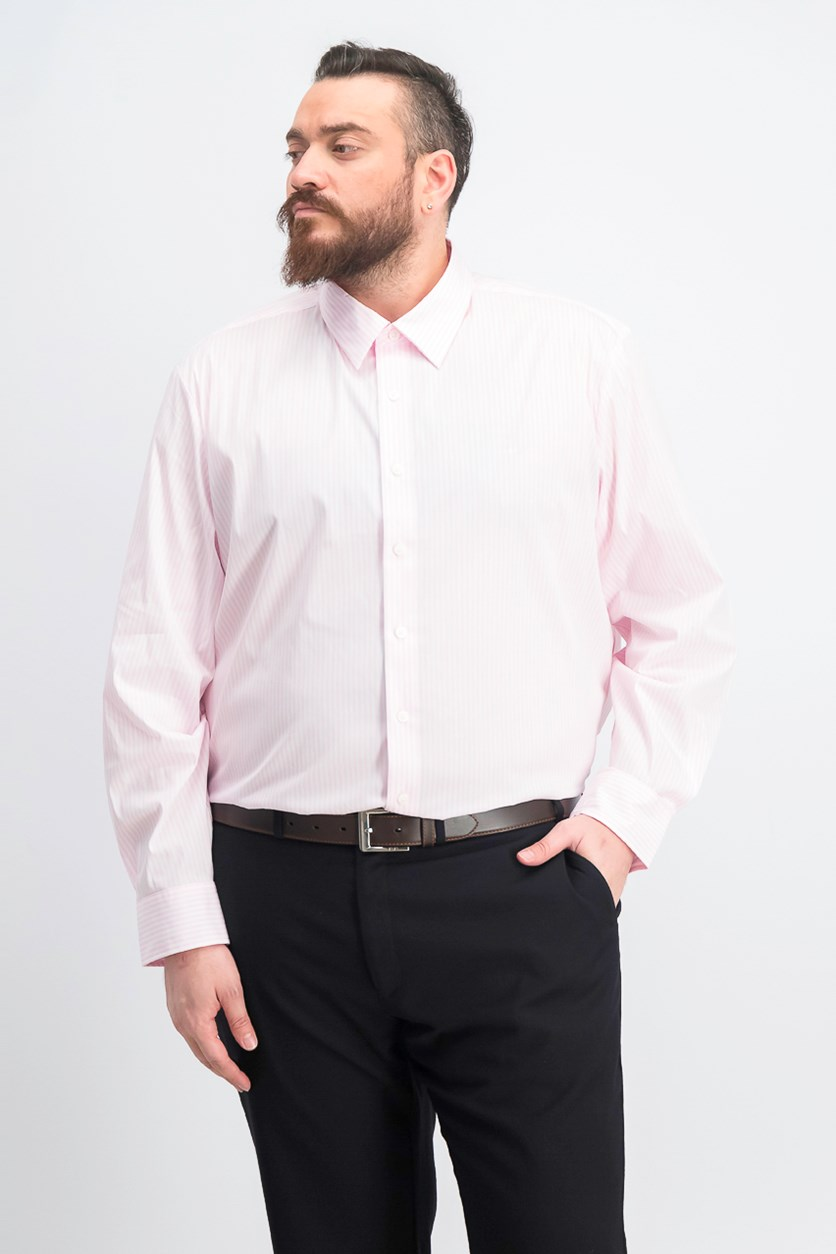 Men's Tall Slim Fit Stripe Casual Shirt, Pink Marshmallow