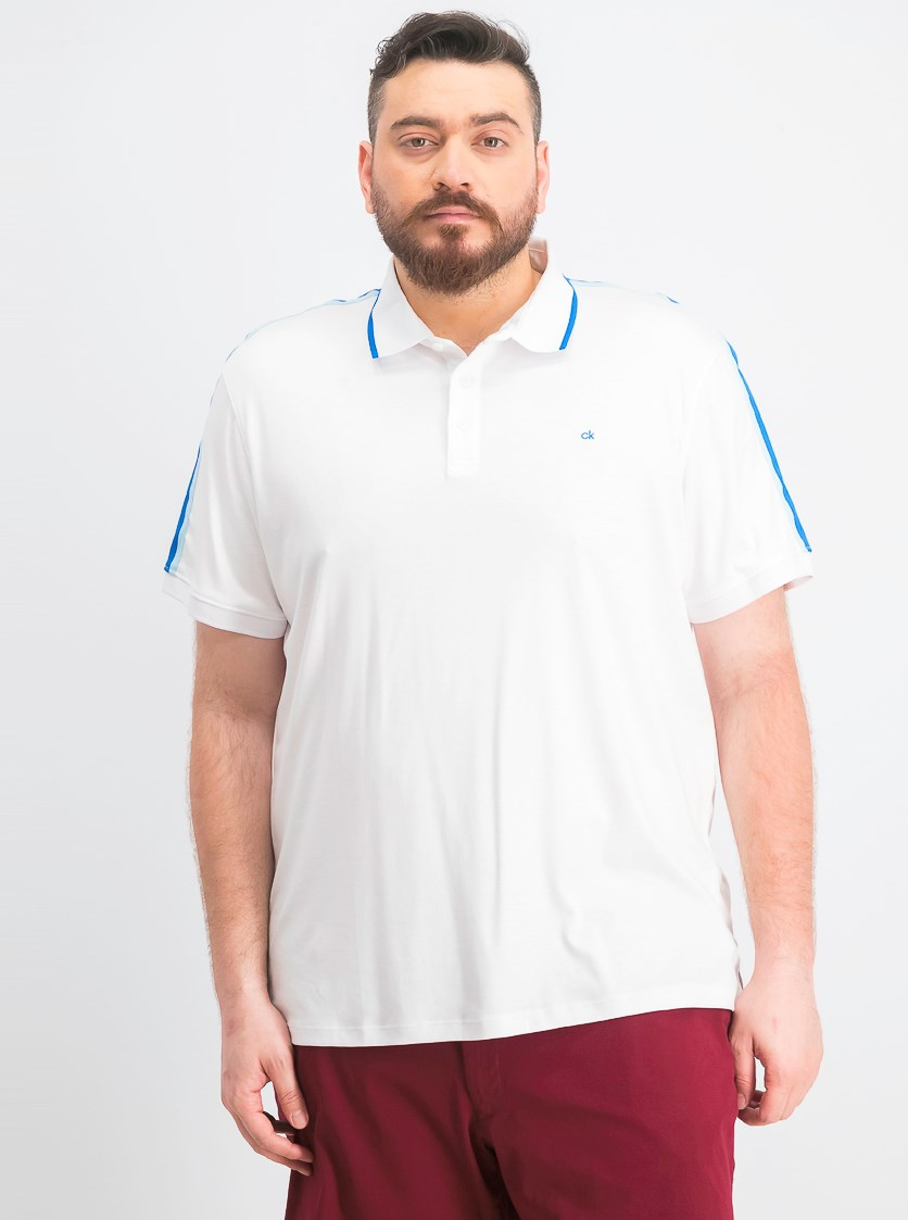 Men's Tipped Liquid Touch Polo, White Combo