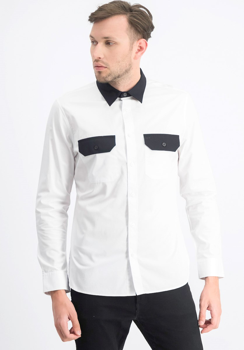 Men's Slim-Fit Colorblocked Twill Shirt, Black/White
