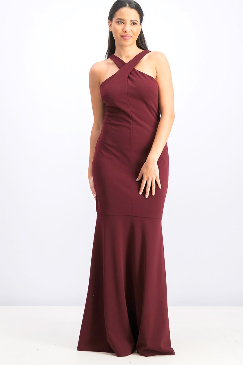 Women's Crisscross-Halter Evening Gown, Maroon