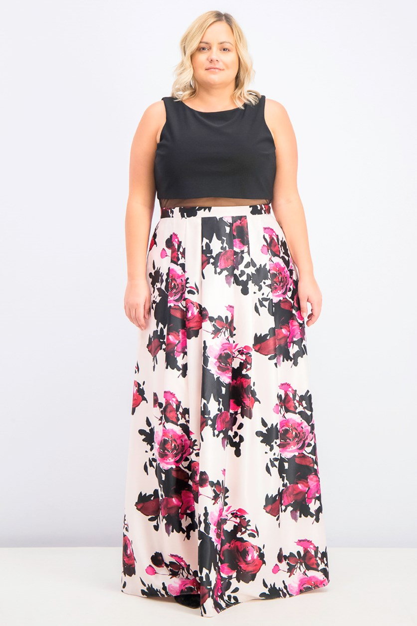 Women's Plus Size Popover Floral-Skirt Gown, Black Pink