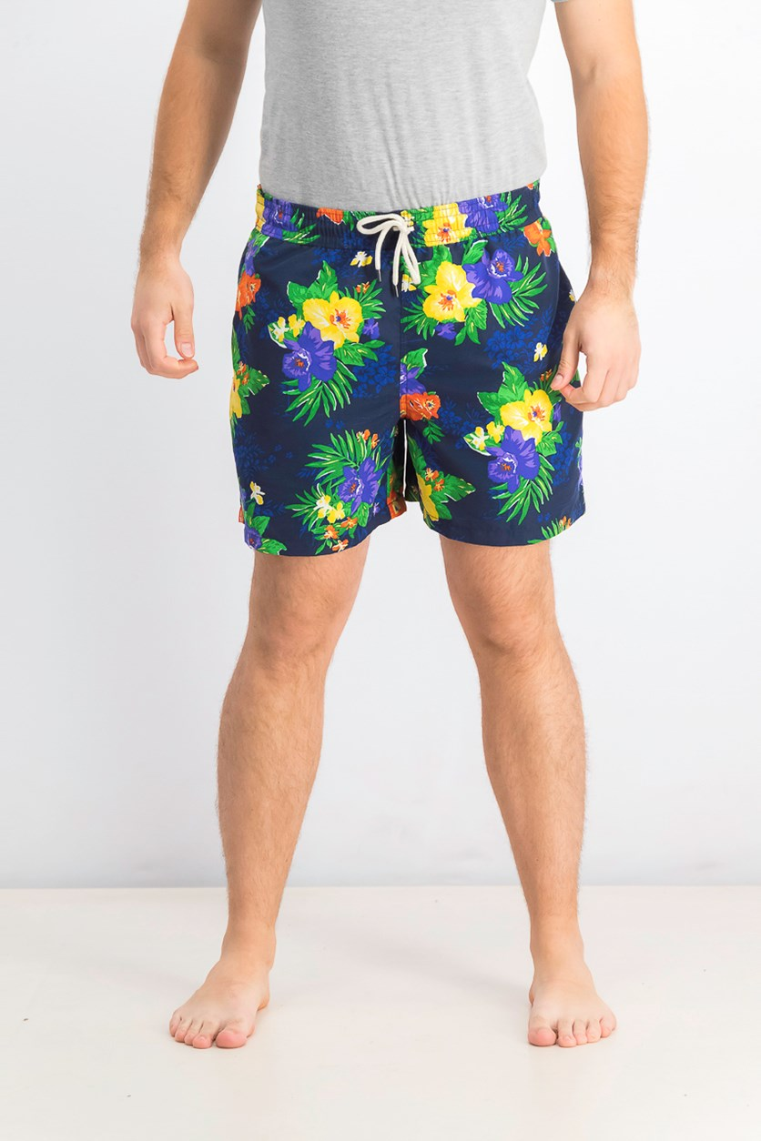 Men's Traveler Tropical Floral-Print Swim Trunks, Navy Blue Combo