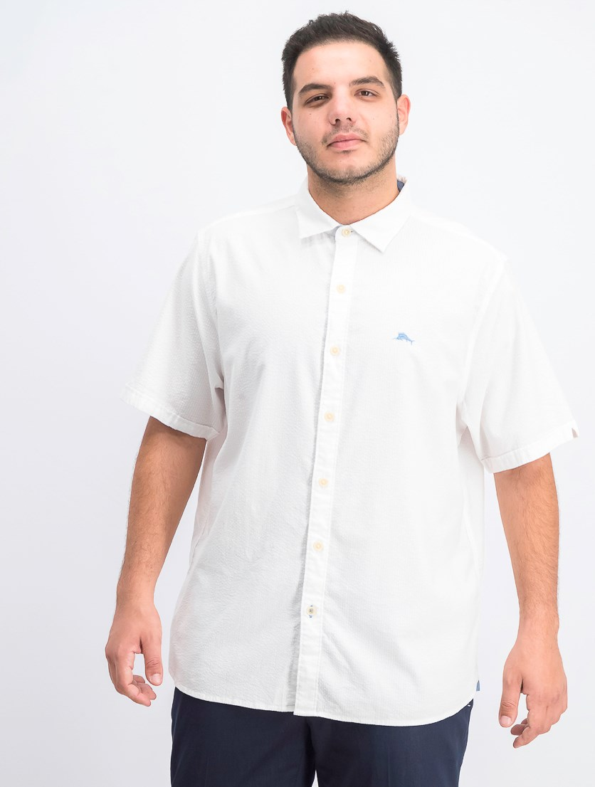 Men's Corvair Stretch Seersucker Camp Shirt, White