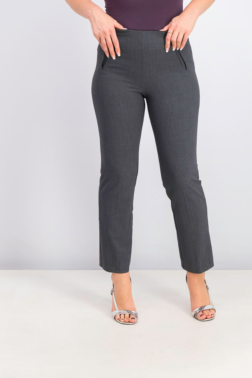 Women's Petite Pull-On Straight-Leg Pants, Grey