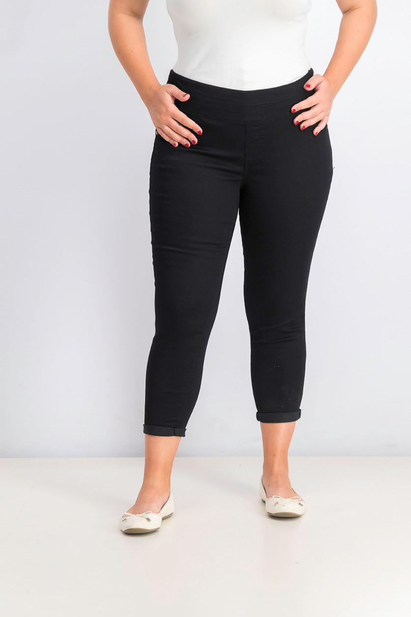 Women's Petite Cropped Pull-On Pants, Deep Black