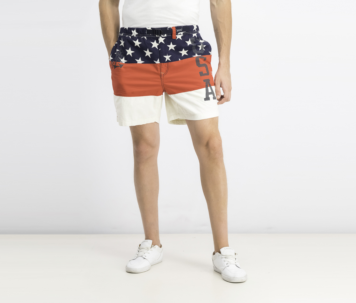 Men's Americana Classic Fit Shorts, Red/Navy/White