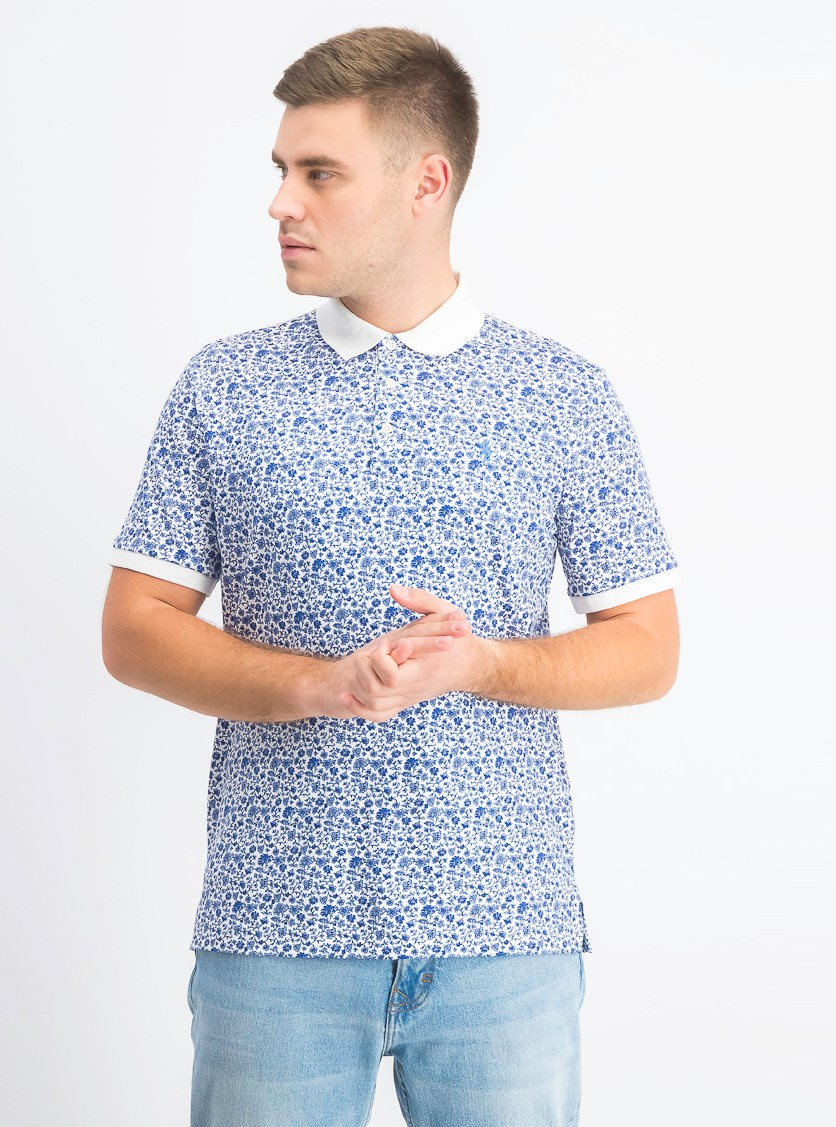 Men's Classic Fit Polo, White Spring Floral