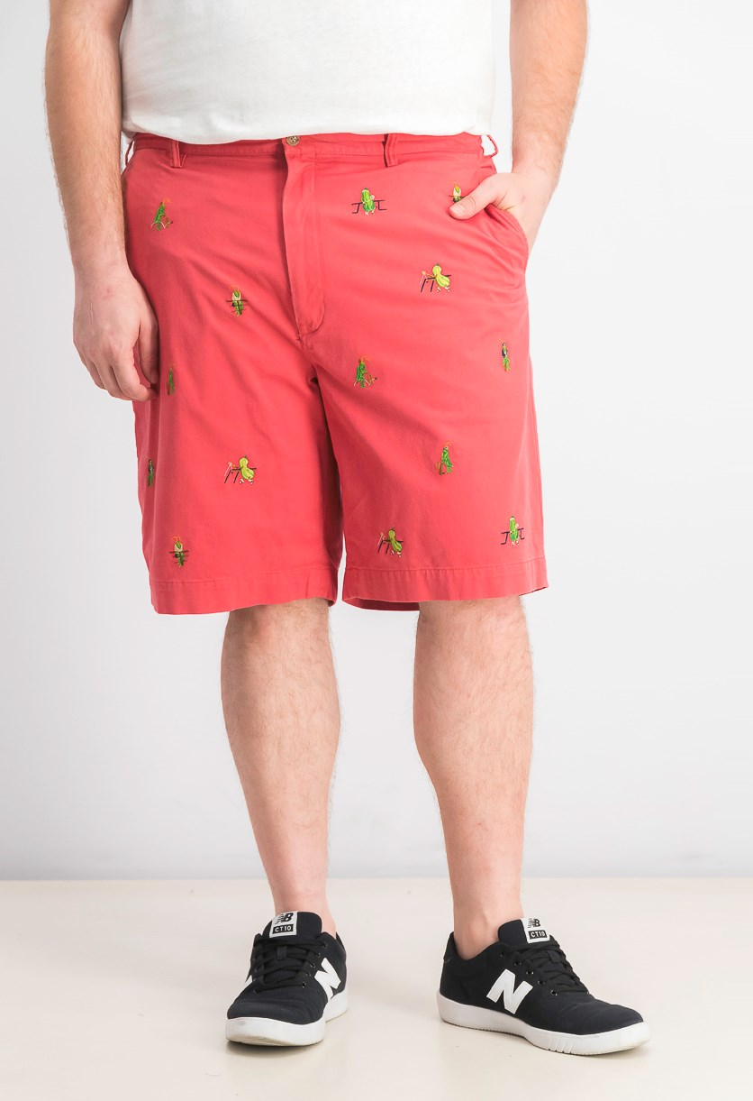 Men's Big & Tall Stretch Straight Fit Embroidered Shorts, Nantucket Red