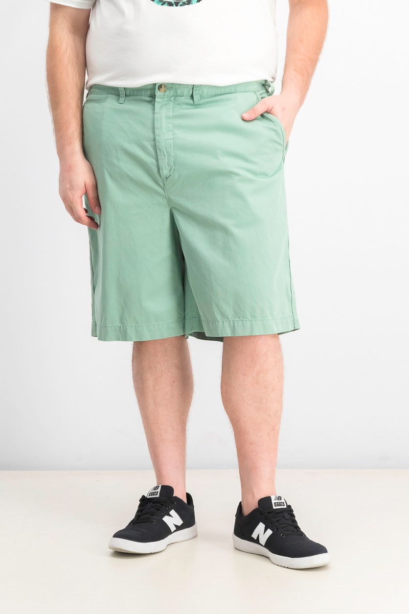 Mens Relaxed Fit Twill Shorts, Faded Mint
