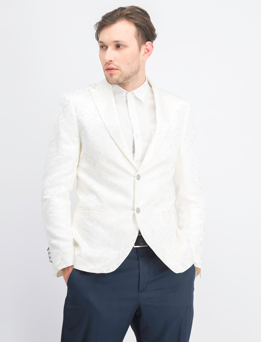 Men's Prom Dragon Notch Blazer, White