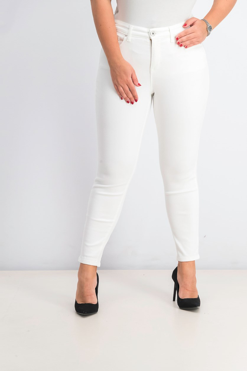 Women's Curvy Skinny Leg Pants, Bright White