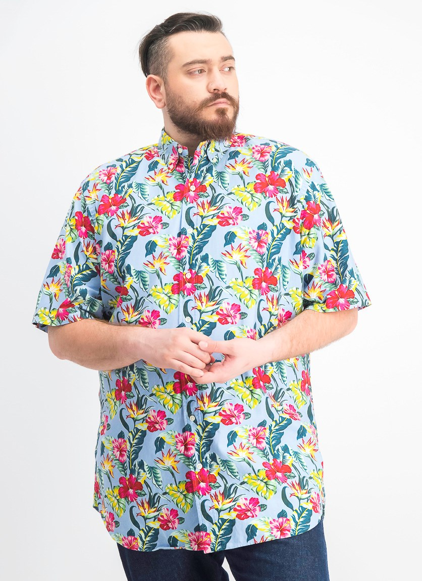 Men's Big & Tall Classic Fit Floral-Print Cotton Shirt, Blue combo