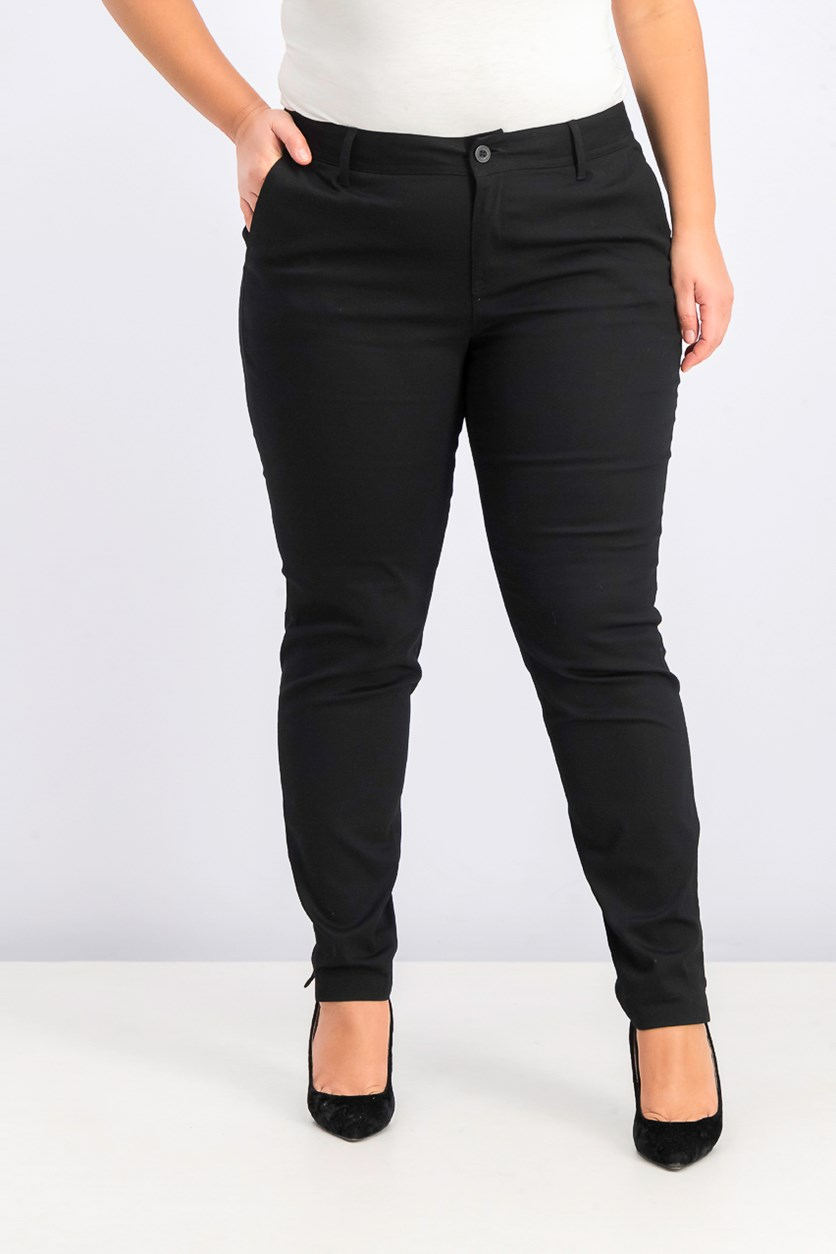 Women's Trendy Plus Size Skinny Ankle Pants, Black