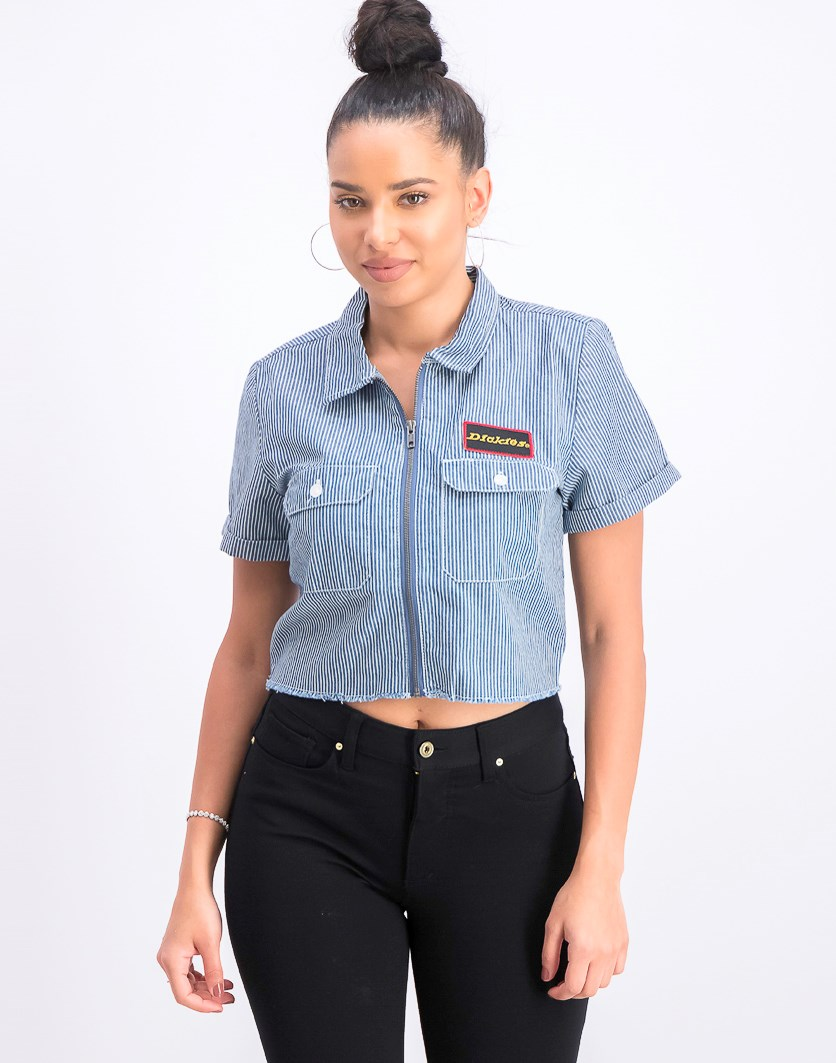 Women's Short-Sleeve Pinstripe Cropped Work Shirt, Navy