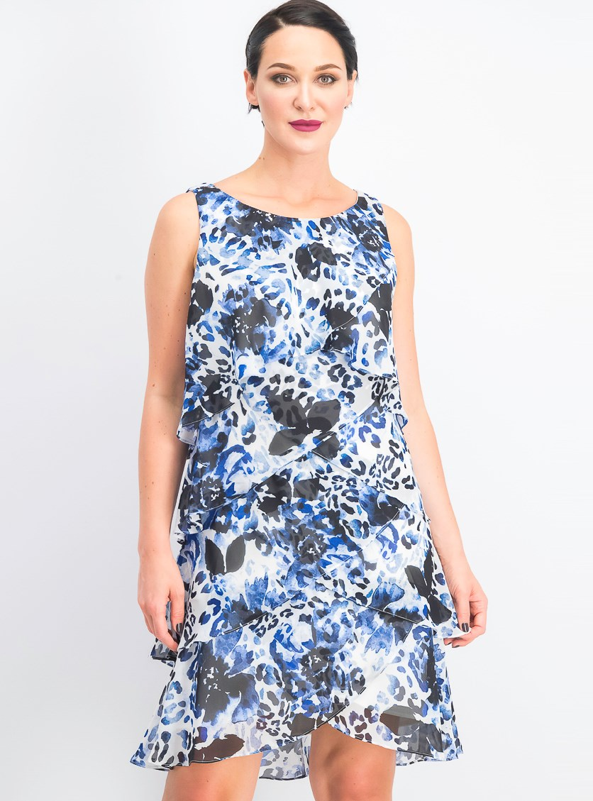 Women's Animal Print Sleeveless Cocktail Dress, Blue Combo