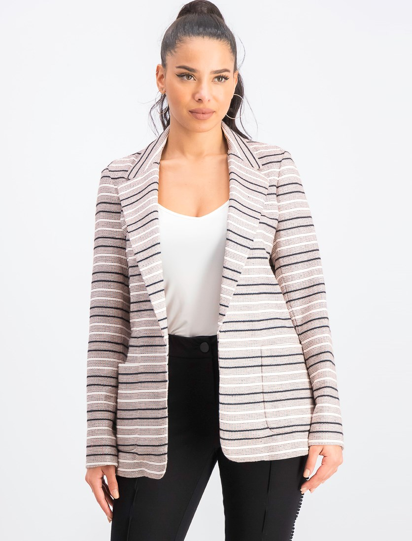 Women's Striped Jacquard Open-Front Jacket, Light Pink