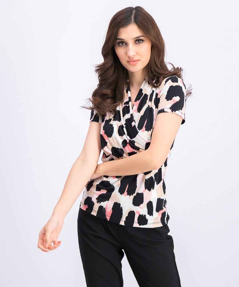 Women's Printed Side-Ruched Top, Dusty Rose/Guava