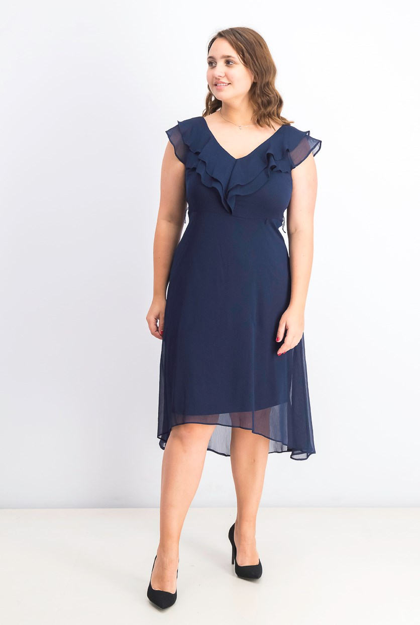 Women's Ruffle V-Neck Chiffon Dress, Navy