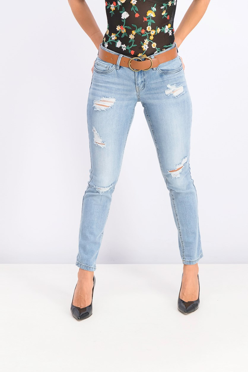 Women's Juniors' Belted Ripped Skinny Jeans, Antigua Wash