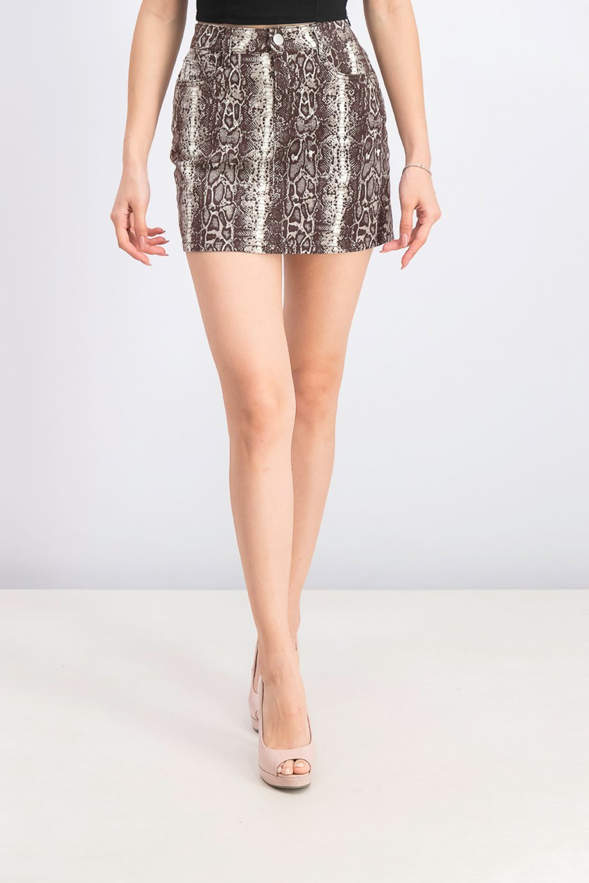 Women's Juniors' Printed Mini Skirt, Snakeskin/Brown Combo