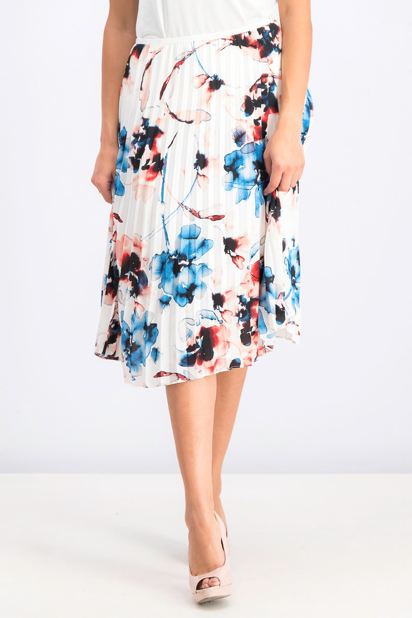 Women's Floral-Print Pleated Midi Skirt, White