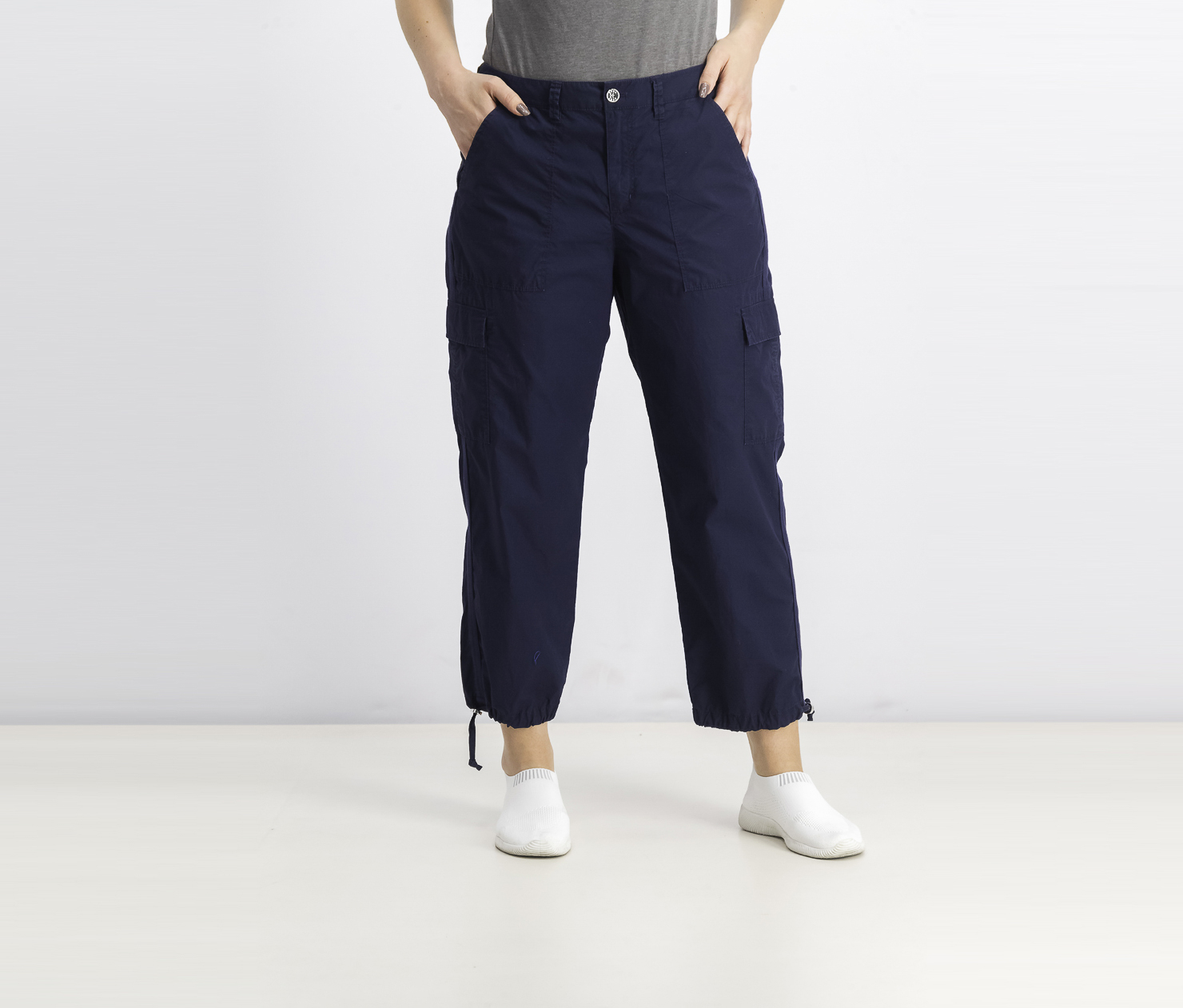 Women's Cotton Cargo Pants, Navy