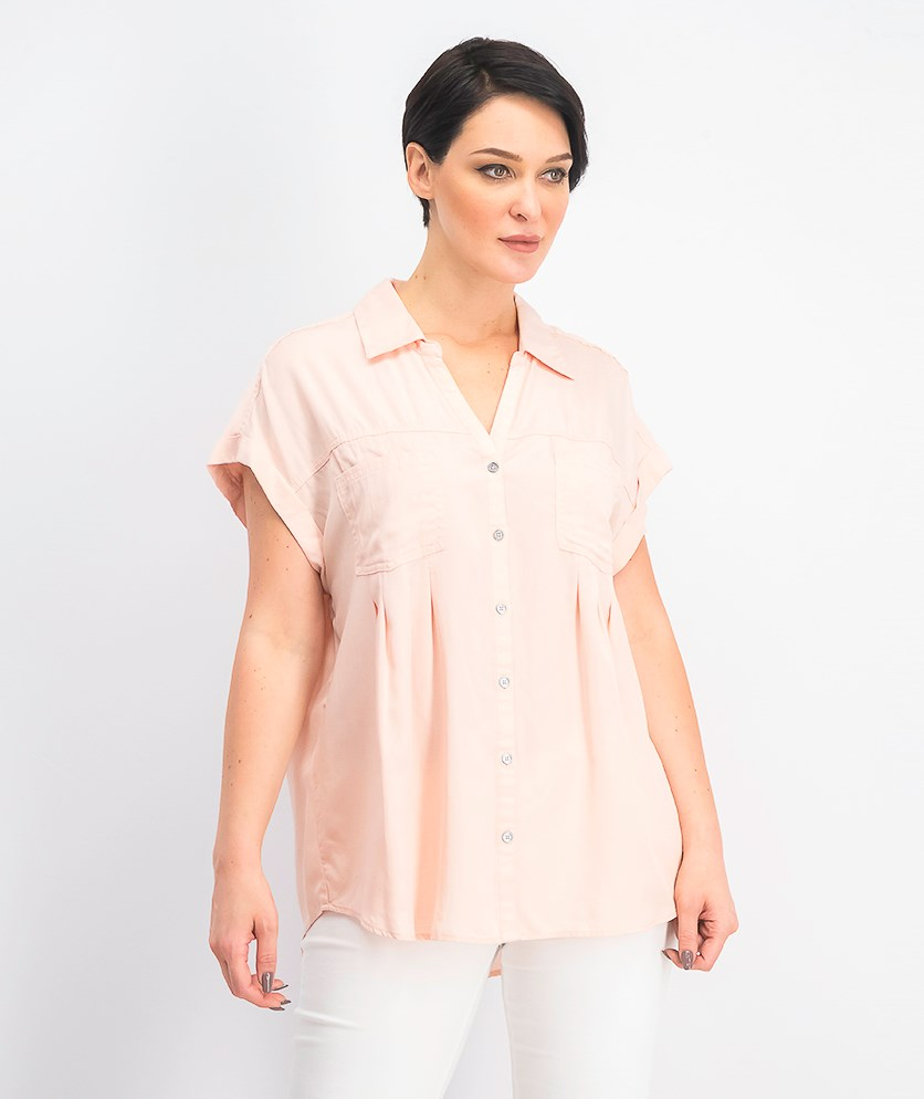 Women's Pleated Cuffed-Sleeve Top, Crushed Petal