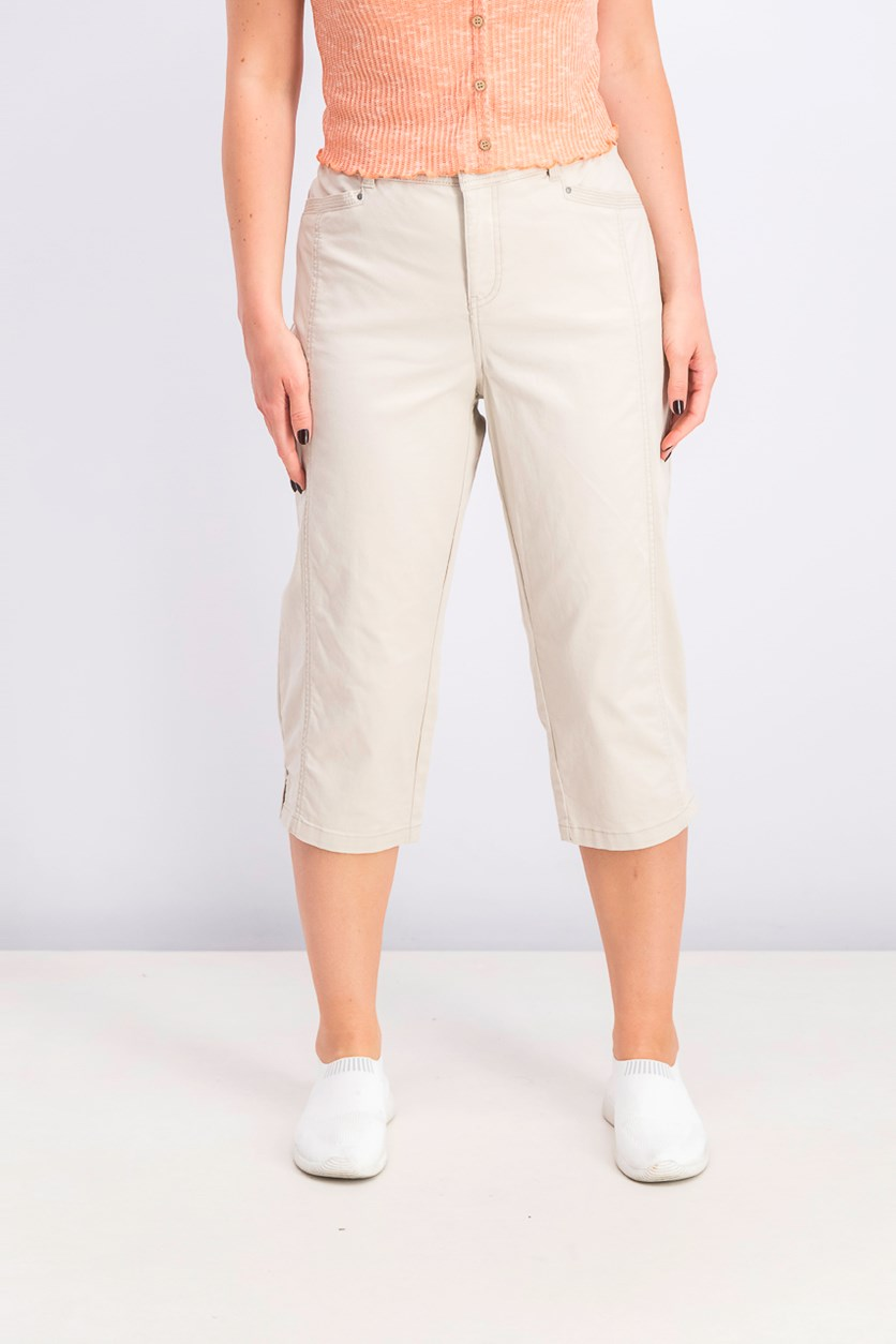 Women's Split-Hem Capri Pants, Stone Wall