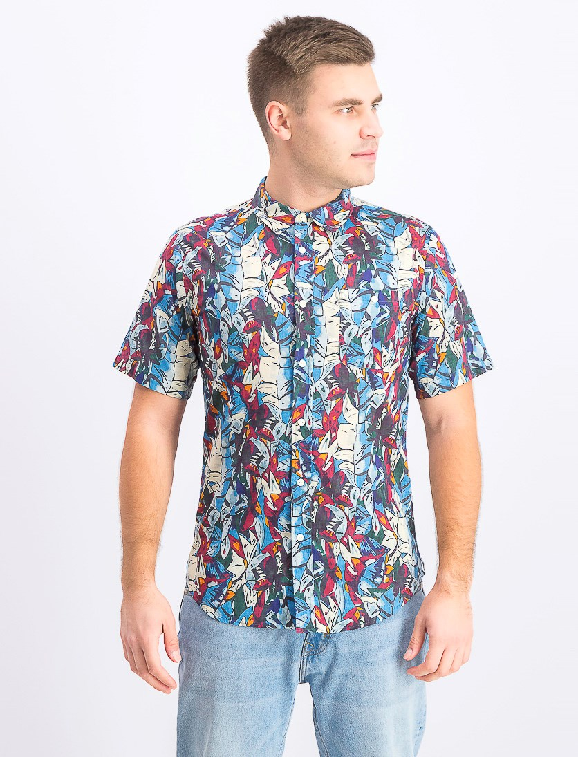 Men's Riviera Short Sleeve Woven Shirt, Blue Combo