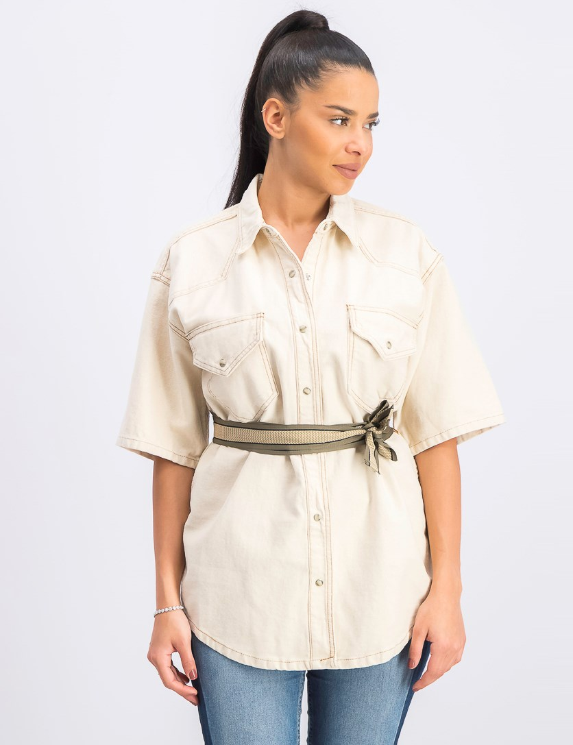 Short-Sleeve Cotton Jacket, Natural