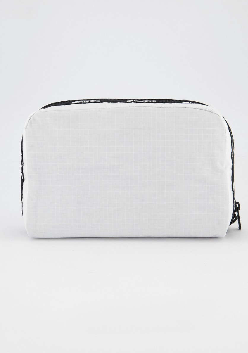 Candace Large Top Zip Cosmetic Pouch, White