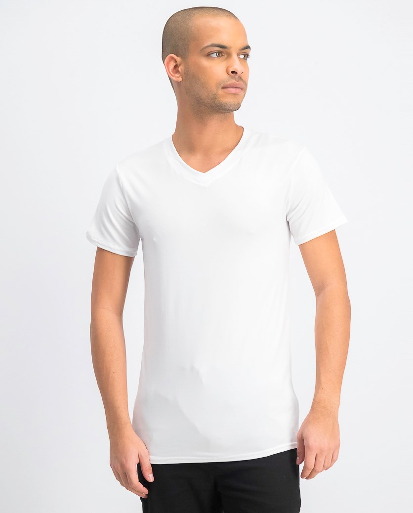 Men's 3 Pack Cotton Strecth V Neck T-Shirt, White
