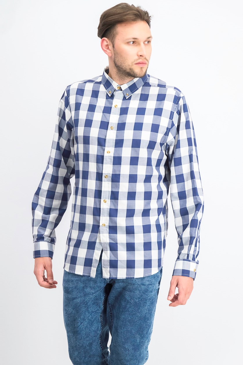 Men's Long Sleeve Plaid Casual Shirt, Light Blue Combo