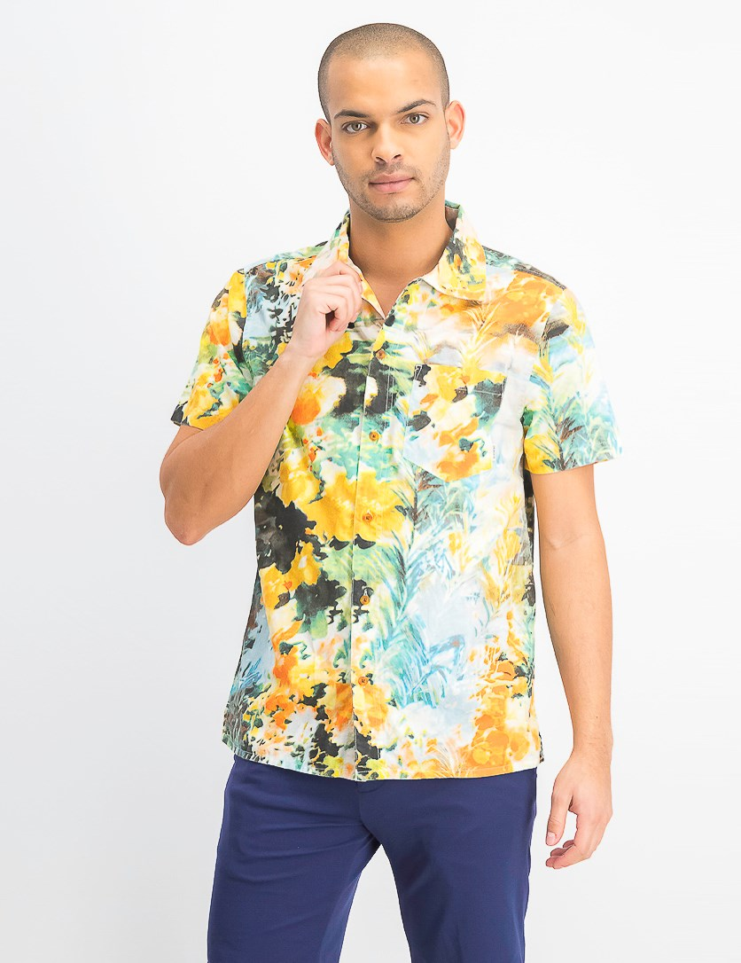 Men's Destination Graphic Shirt, Blue/Yellow Combo