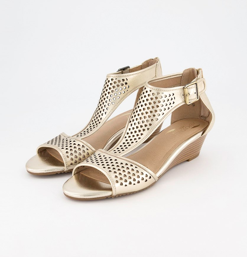 Women's Sapphire Wedges Sandals, Gold Leather