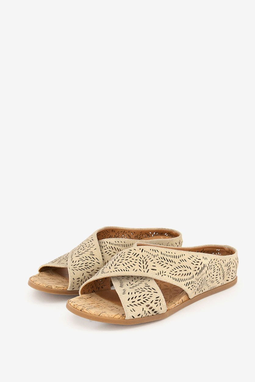 Womens Dafni Leather Open Toe Casual Slide Sandals, Gold