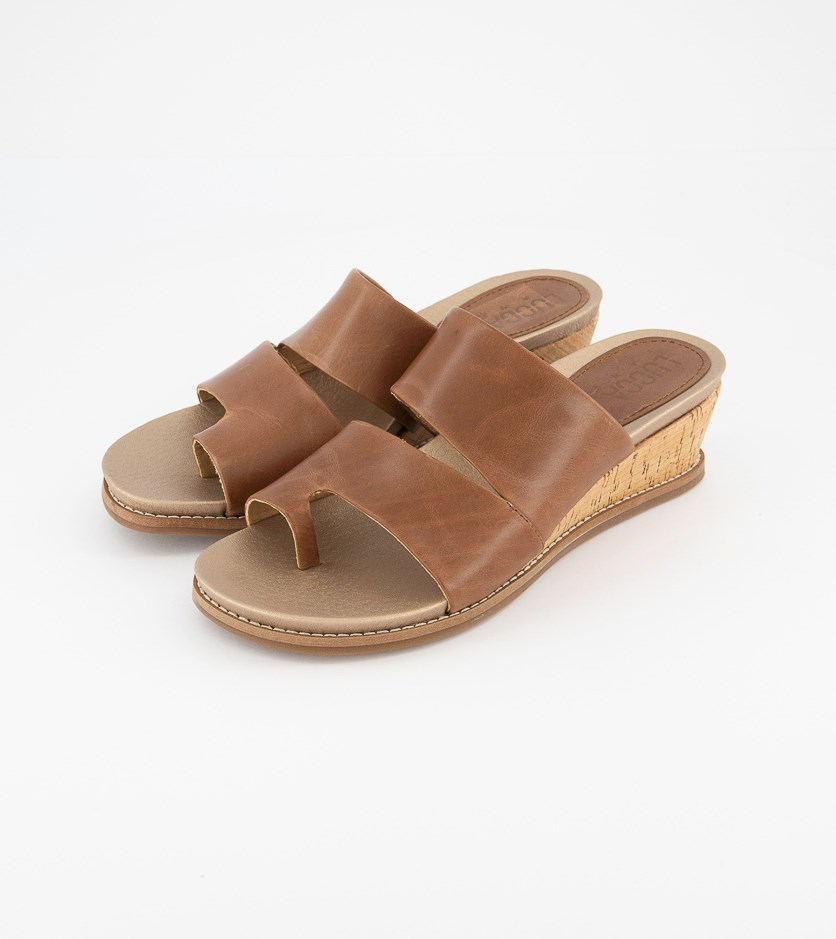 Women's Whitley Leather Open Toe Casual Slide, Brush Brown