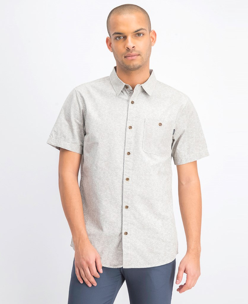 Men's Pierson Short Sleeve Button Down Shirt, Grey/White