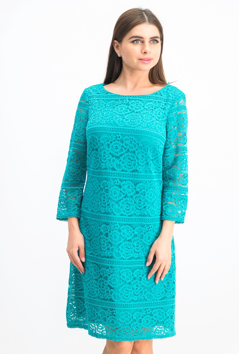 Women's Allover-Lace Sheath Dress, Teal Green